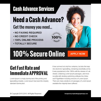 Cash loan ppv landing page designs for capturing quality leads for best conversion.