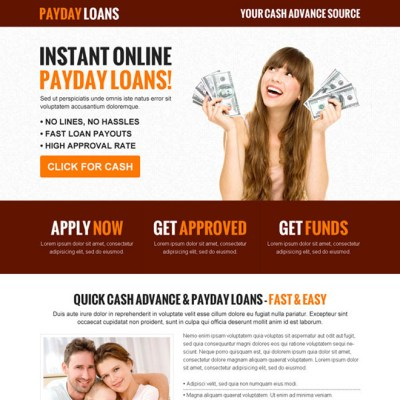 Payday cash loan in advance responsive landing page design templates example