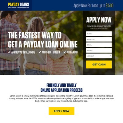 Payday loan landing page design templates for payday loan business conversion