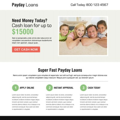 Payday loan landing page design templates example for payday loan business conversion | Landing ...