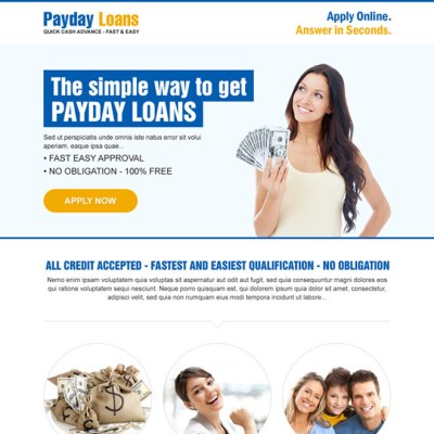Payday cash loan in advance responsive landing page design templates example page 2