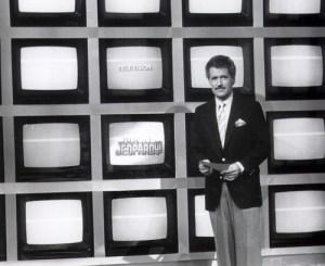 Alex Trebek on the new, modern Jeopardy! set