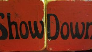 An actual pair of Showdown dice