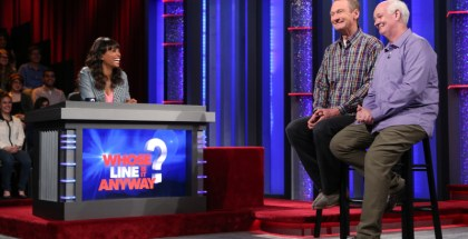 """Whose Line Is It Anyway?"" -- Kyle Richards -- Image WL103A_0342 -- Pictured (L-R): Aisha Tyler, Ryan Stiles and Colin Mochrie. Photo: Patrick Wymore /The CW -- © 2013 The CW Network, LLC. All Rights Reserved"