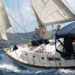 Corus under sail in the BVI