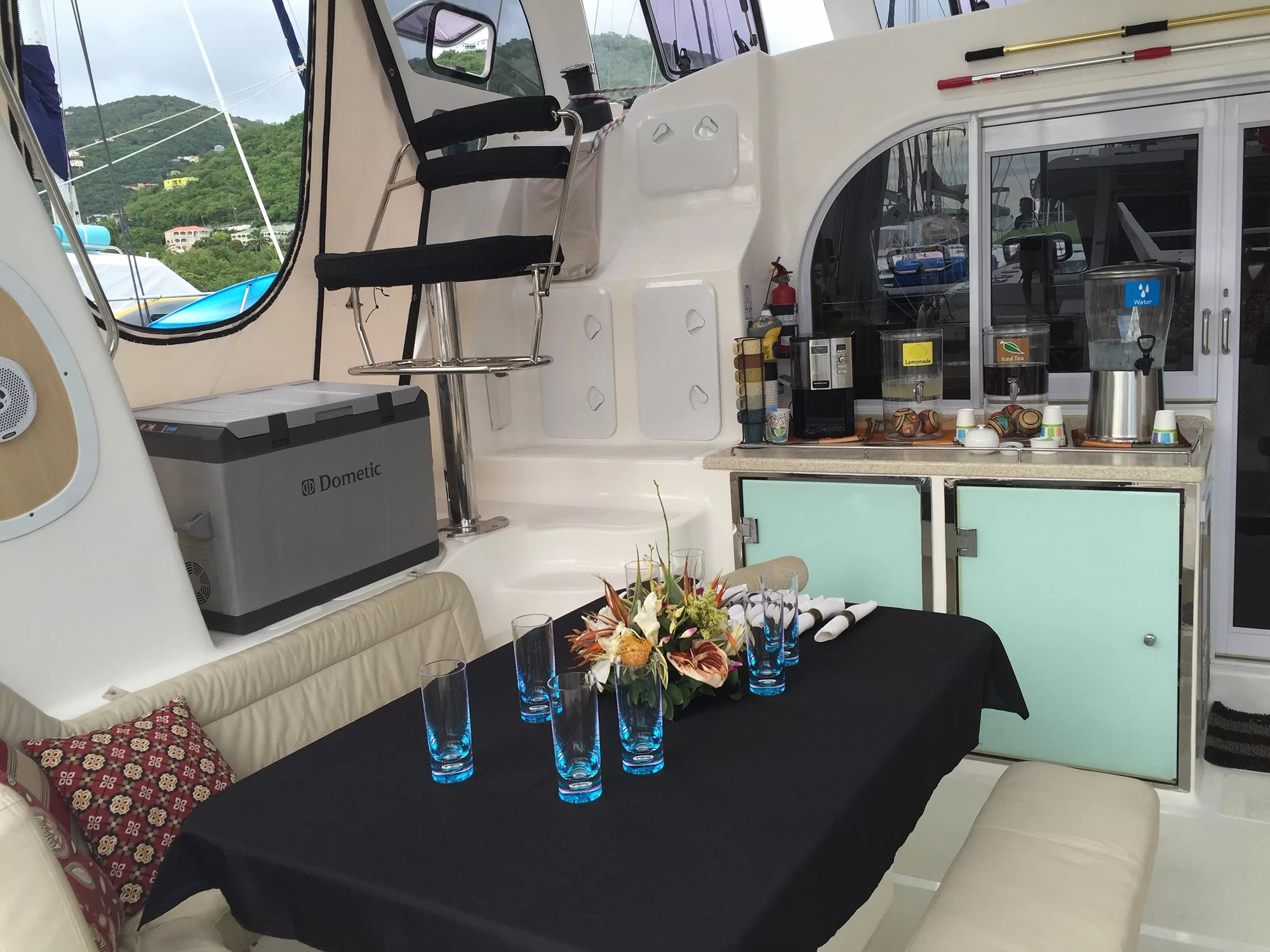 The cockpit is a natural gathering space on BVI sailing charters