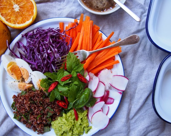 Root Vegetable Slaw with Herby Quinoa & Asian Dressing