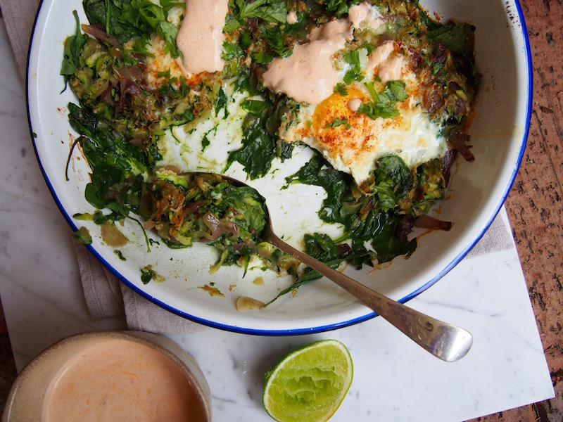 Green Baked Eggs with Chipotle Yoghurt, delicious & nutritious recipe over on the blog (www.therosedogblog.me)