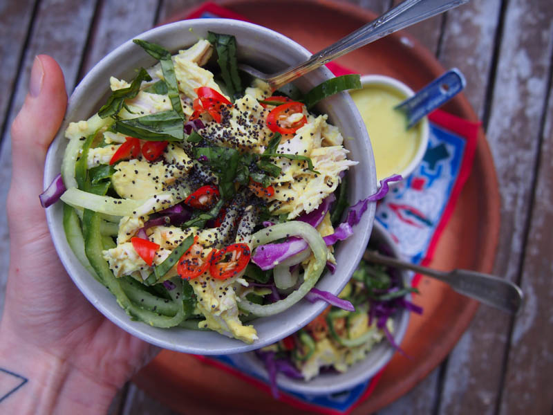 Turmeric Poached Chicken Noodle Salad, Healthy Recipes By Rosie, www.by-rosie.com