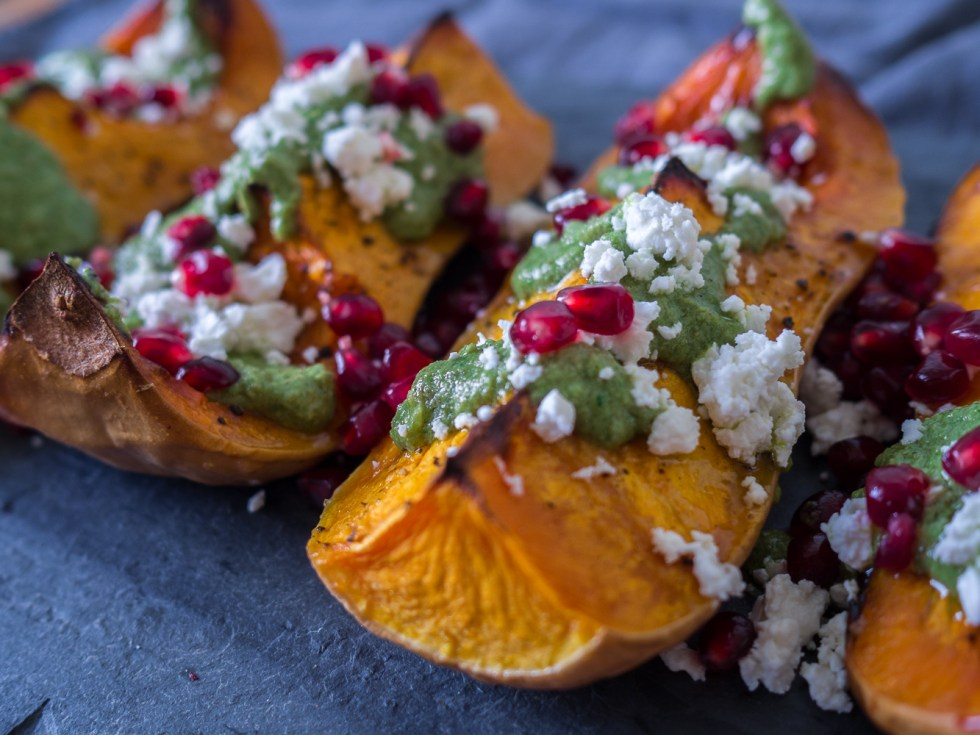 Roasted Squash with Pesto, Pomegranates & Feta, Vegetarian, Find Recipe at www.by-rosie.com