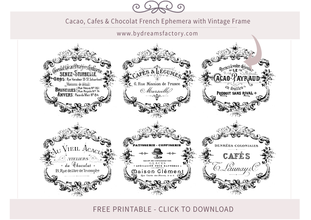 Cacao, Cafes & Chocolat French Ephemera with Vintage Frame - Free Download