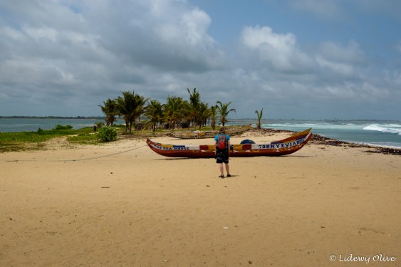 headland with on one side the atlantic ocean on the other the volta river