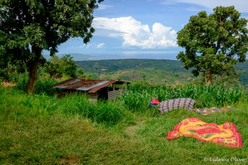 Drying the laundy on the grass in Livingstonia