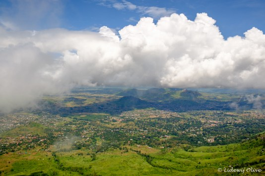 View from up the Zomba plateau. All day is was cloudy, but when we arrived at the top, the clouds went away:)