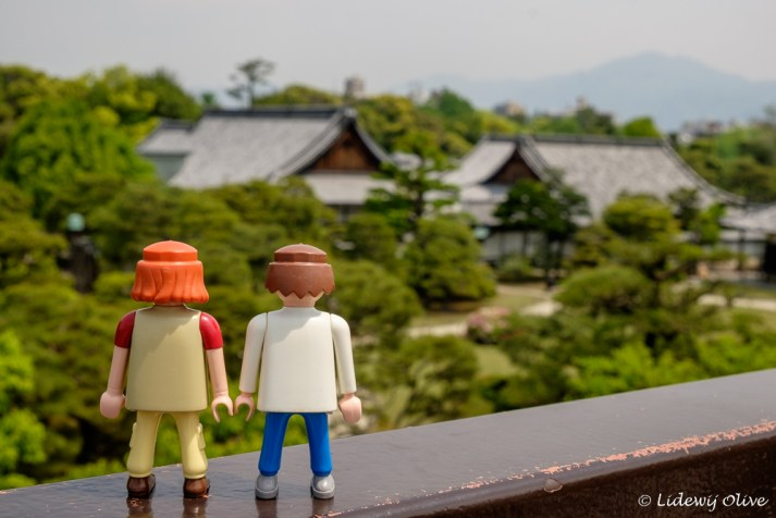 Travel companions watching over Nijo castle, Kyoto