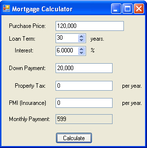 Mortgage Calculator in C# and .NET