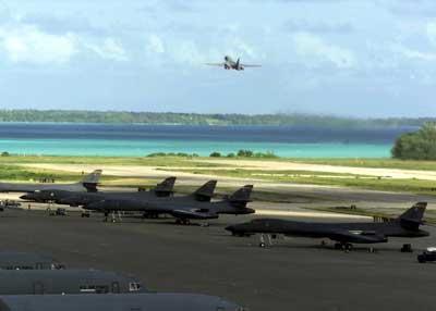 American military aircraft at Diego Garcia.