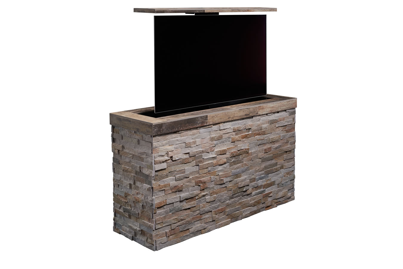 D Tile Topped Stacked Stone Outdoor TV Lift Cabinet Island