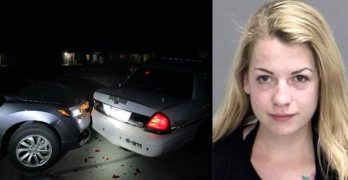 College student taking topless Snapchat photo slams into cop car
