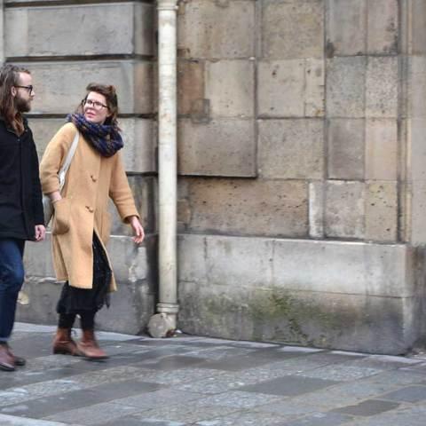 Paris, on the street…that nude colour coat…