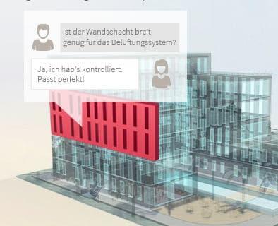 Chat in Echtzeit am 3-D Modell - auch so etwas geht mit bim+