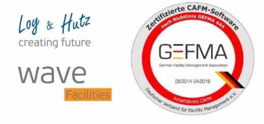 wave Facilities von Loy & Hutz ist für alle 13 Kataloge der GEFMA 444 zertifiziert