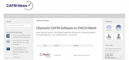 Die CAFM-News bieten jetzt auch eine Übersicht der CAFM-Software im DACH-Markt[