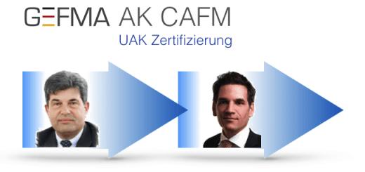 Prof. Joachim Hohmann übergibt die Leitung des UAK Zertifizierung des GEFMA AK CAFM an Marko Opic
