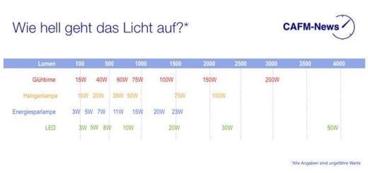Wer verbraucht wie viel? Energiebedarf und Lichtausbeute sind bei LED, Energiesparlampe, Halogenbirnen und Glühbirnen deutlich verschieden