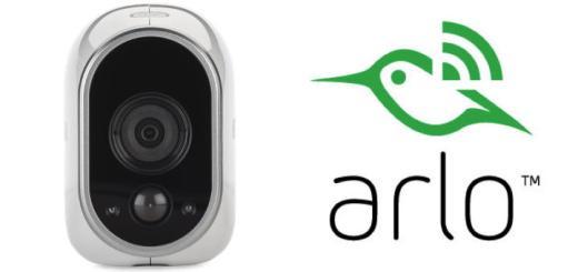 Alles im Blick: Die Arlo Kamera mit ihrem Kolibri-Logo