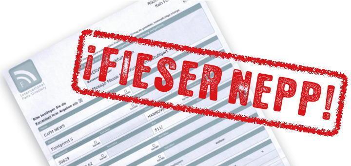 Die International Fair Directory versucht weiterhin, Aussteller der INservFM 2017 mit Tricks um mehr als 1000 Euro zu bringen.