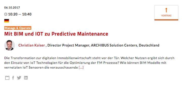 Mit BIM und IoT zu Predictive Maintenance – das ist der Titel eines Vortrags von Archibus auf auf dem Real Estate Innovation Forum der Expo Real