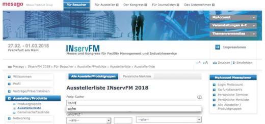 Auf der Website der INservFM 2018 finden sich bereits die ersten CAFM-Aussteller