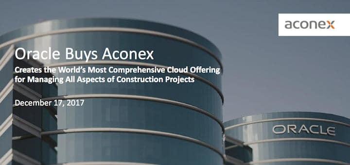 Mit Datum 17. Dezember kündigt Oracle die Übernahme von Aconex an