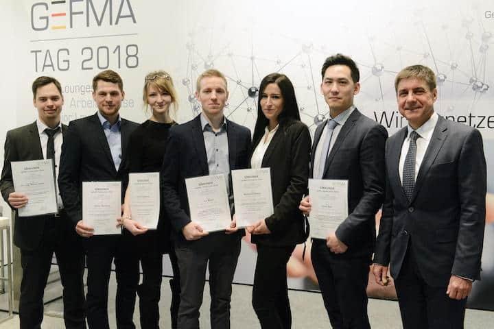 Prof. Markus Lehmann (r.) mit den Gewinnern der GEFMA-Förderpreise 2018 (v.r.): Jonas Rau, Alexandra Köther, Tim Bosch, Jana Kolpakova, Daniel Hartung und Dr.-Ing. Rainer Fauth