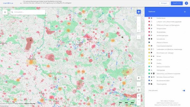 Map2Fly bietet klare Orientierung, wenn es darum geht, den gewünschten Flugbereich zu überprüfen