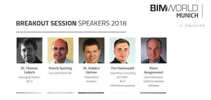 Einige der Vortragenden zu BIM und CAFM, ein Thema der Breakout Sessions auf der BIM World Munich