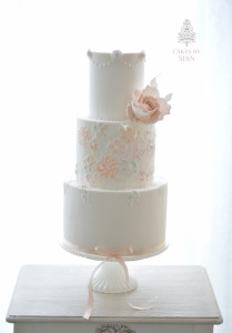 Blush Lace Wedding Cake