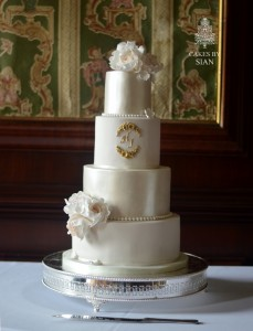 Blush and lustre glam wedding cake