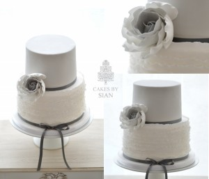 grey ombre rose and ruffles wedding cake