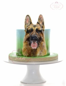 handpainted.german.shepherd.dog.cake