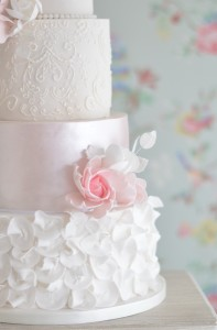 Lace and blush wedding cake