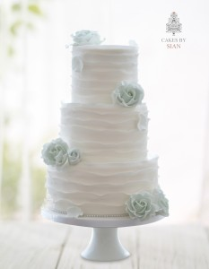 Mint Green Rustic Ruffles Wedding Cake