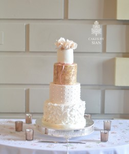 Rose Gold Sparkle Wedding Cake