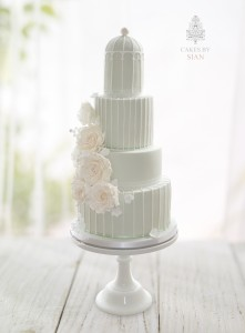 Sage green birdcage wedding cake