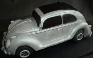 Vintage VW Beetle Birthday Cake Volkswagon silver black ragtop