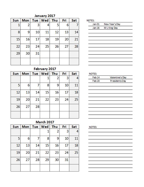Printable Quarterly Calendar 2017 – Printable Pages