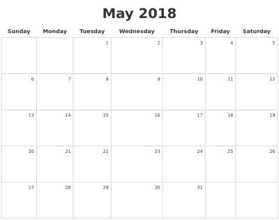 May 2018 Make A Calendar