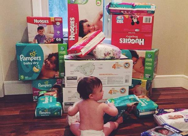 This is Abigail. Her and her mom asked their friends to bring diapers instead of presents for her first birthday! We were so touched by this awesome family and their thoughtfulness!
