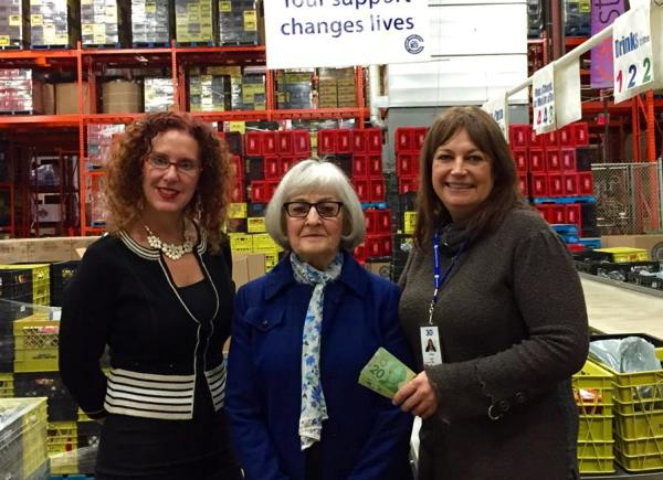 Pegi Enders, Checker Transportation Group Owner (middle) and Layna Segall, Social Media Manager (left), stopped by to give our Cindy Drummond a surprise donation!